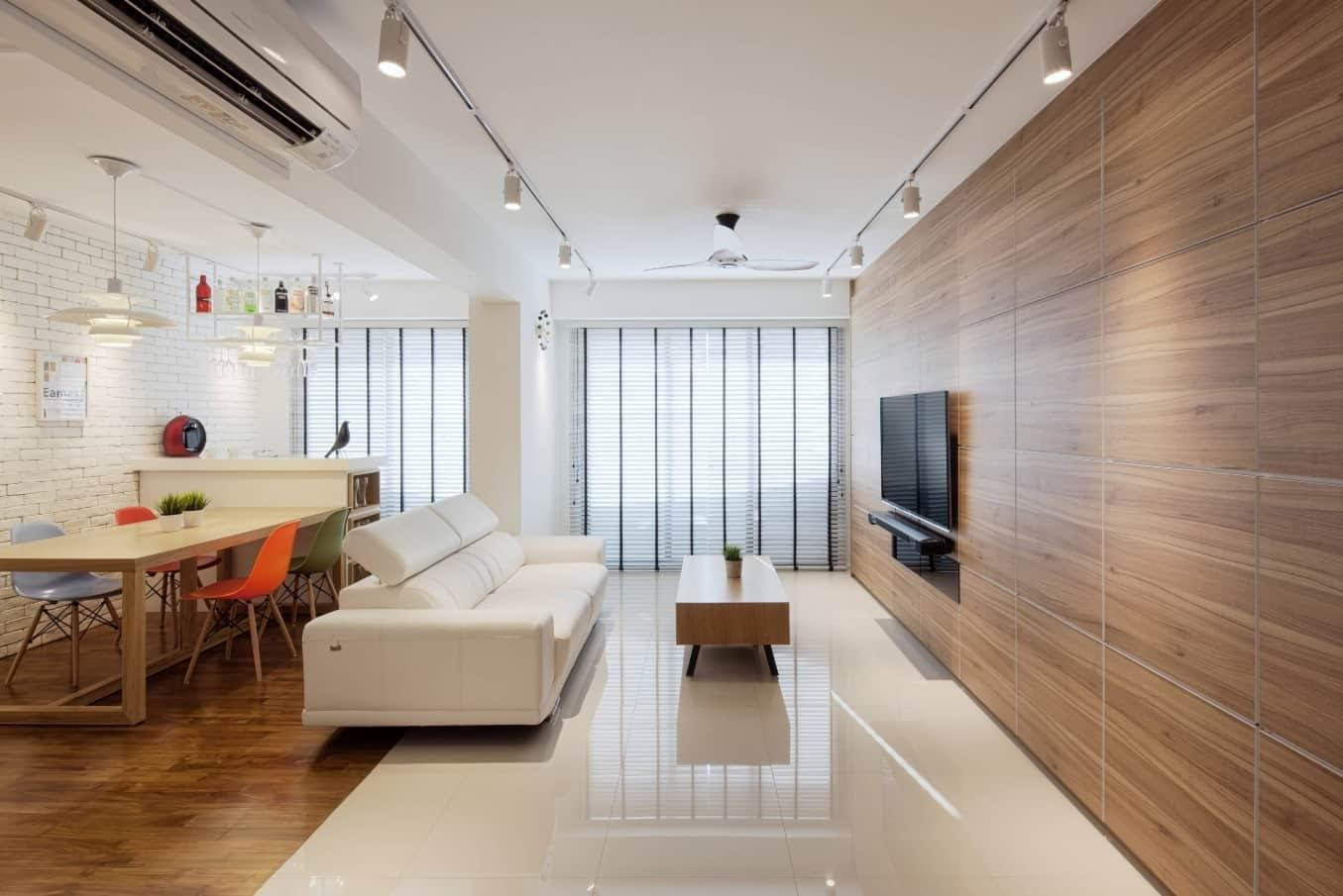 Best Tiles for Your Living Room. Great idea of wooden laminated TV-screen wall