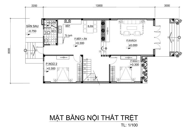 Layout tầng trệt